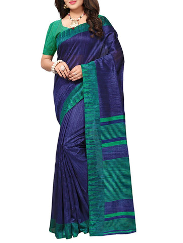 Blue silk saree with contrast blouse