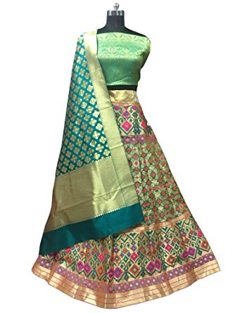 Brocade English Green Lehenga