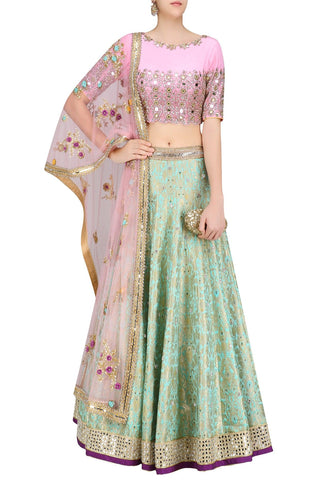 Brocade Pink Bird Design Lehenga
