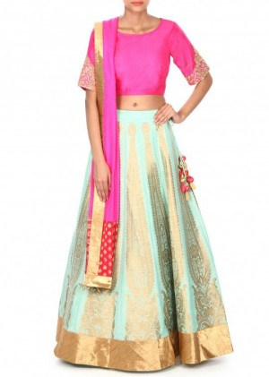 Brocade Pink Lehenga With Dupatta