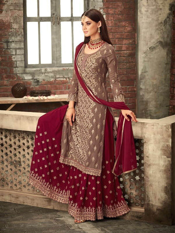 Brown Sharara Lehenga