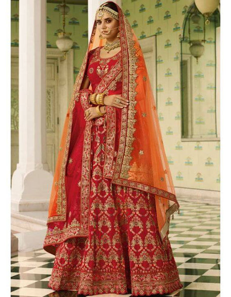 Cherry Red Bridal Lehenga