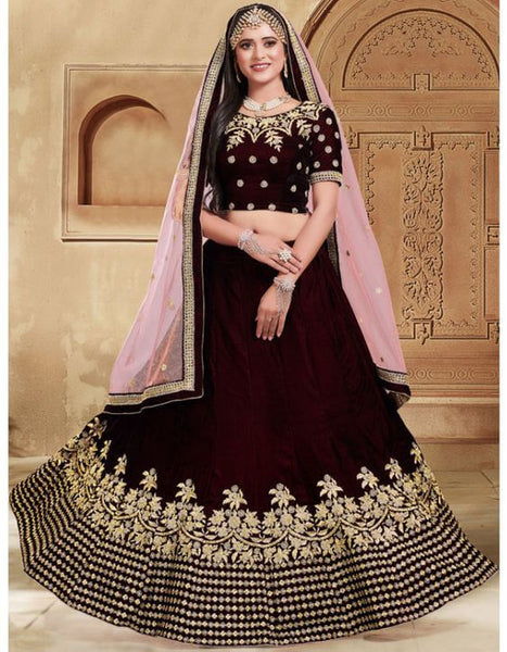 Coffee Colour Bridal Lehenga