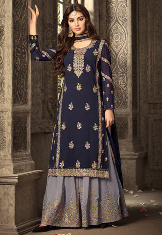 Dark Blue Sharara Lehenga