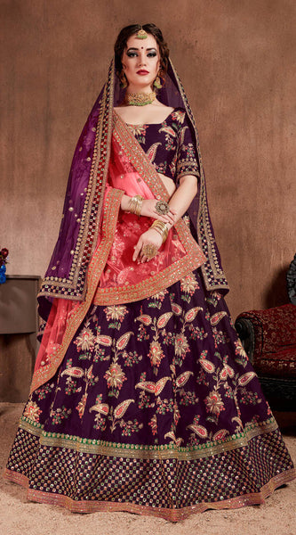 Dark Purple Bridal Lehenga