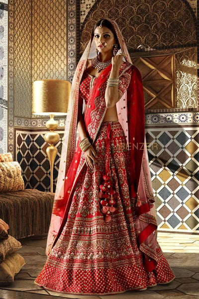 Double Dupatta Red Bridal Lehenga