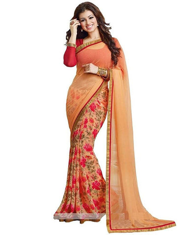 Floral Saree With Lace Border