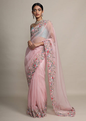 Floral Embroidered Organza Saree for Minimalistic Look