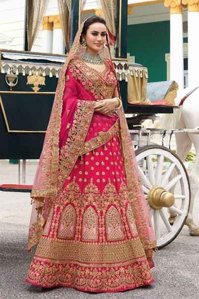 Gajri Colour Bridal Lehenga