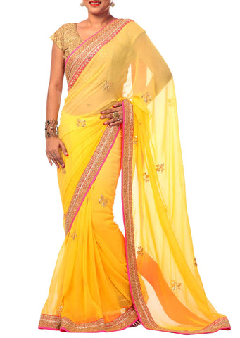 Georgette yellow gotta saree