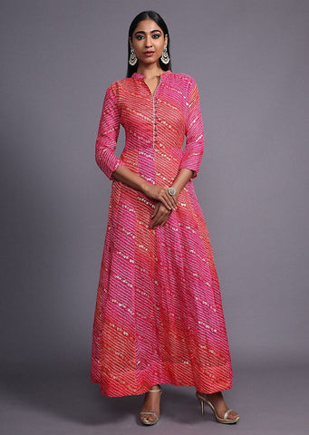 Gold foil printed pink gown