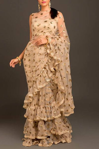 Golden Ruffle Saree
