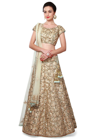Golden Party Wear Lehenga