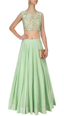 Green Lehenga Skirt With Crop Top