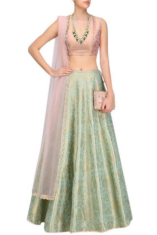 Green Brocade Silk Lehenga