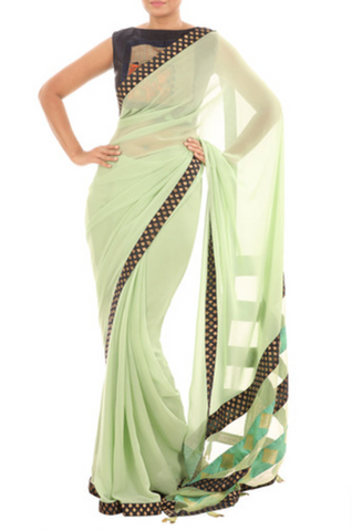 Green Raw Silk Printed Saree
