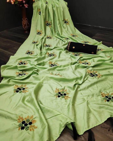 Green Silk Embroidery Saree