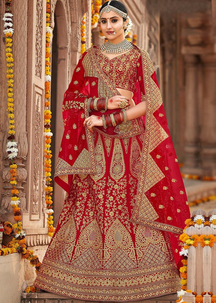 Heavy Red Bridal Lehenga