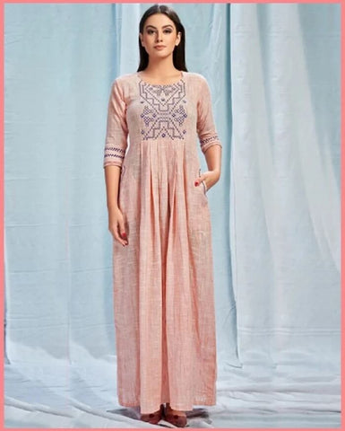 Light Peach Long Gown Kurtis