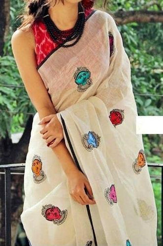 Linen Embroidery Sarees