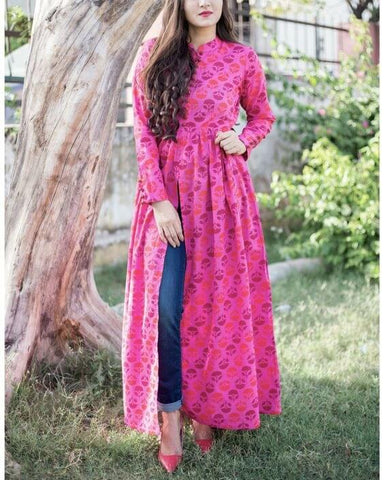 Long Cut Kurti For Jeans