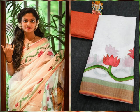 Lotus Zari Border Saree