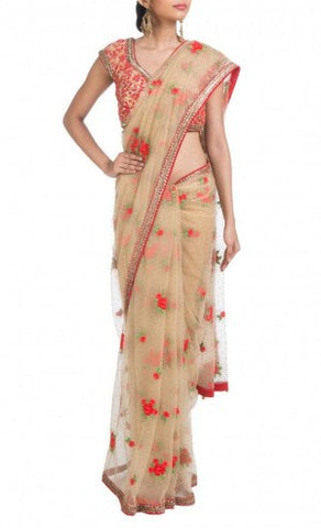 Marble Silk Embroidery Saree