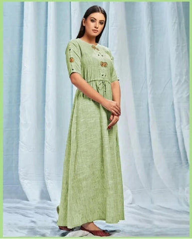 Mint Green Long Gown Style Kurtis