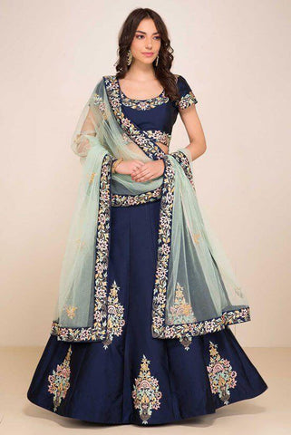 Navy Blue Lehenga Skirt