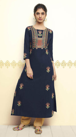 Navy Blue Long Kurti
