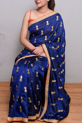 Navy Blue Embroidery Saree
