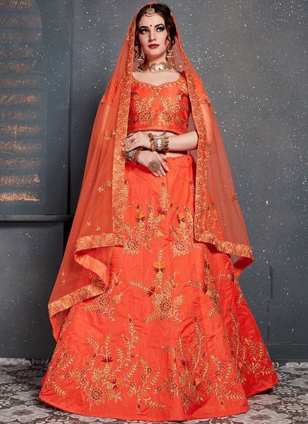 Orange Colour Bridal Lehenga