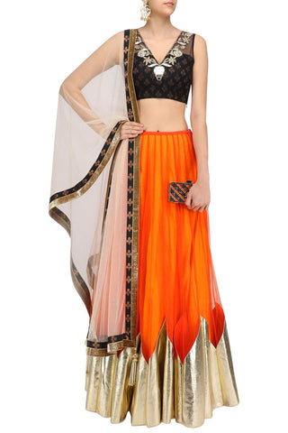Orange Lehenga Skirt
