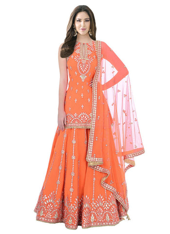 Orange Sharara Lehenga