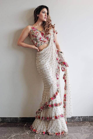 Party Wear Ruffle Saree