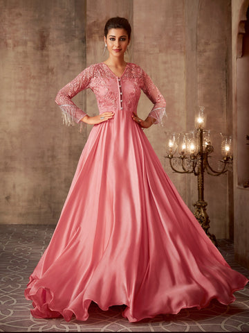 Partywear Pinky Printed Georgette Gown