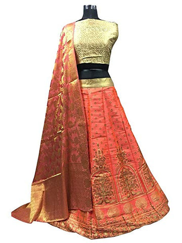 Peach Brocade Lehenga Choli And Dupatta