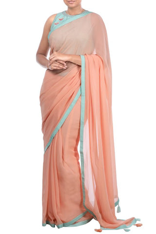 Peach Embroidery Linen Saree