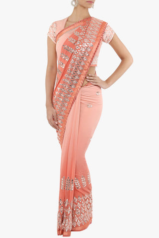 Peach Silk Gota Patti Sari