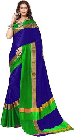 Peacock Blue And Green Combination Saree