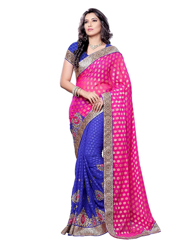 Peacock Blue And Pink Saree