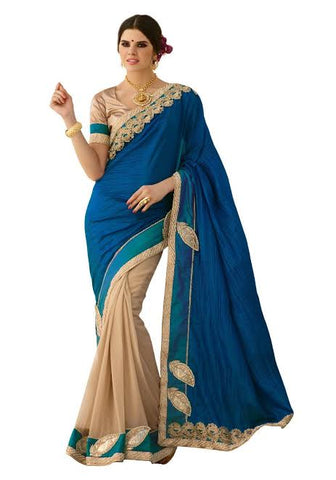 Peacock Blue Chiffon Saree