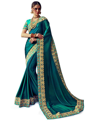 Peacock Blue Color Georgette Saree