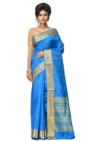Peacock Blue Color Saree