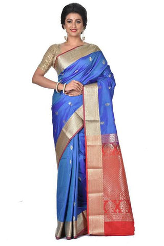Peacock Blue Color Silk Saree