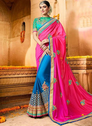Peacock Blue Color Wedding Saree