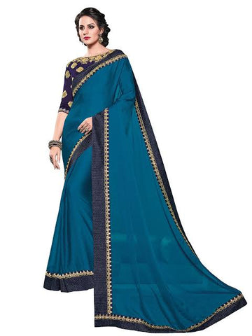 Peacock Blue Colour Saree
