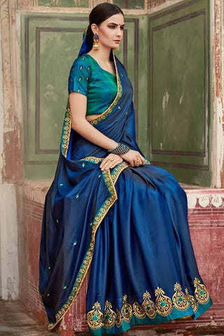 Peacock Blue Colour Silk Saree