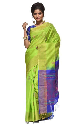 Peacock Blue Green Saree