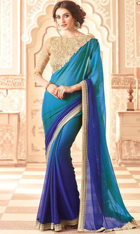 Peacock Blue Plain Saree